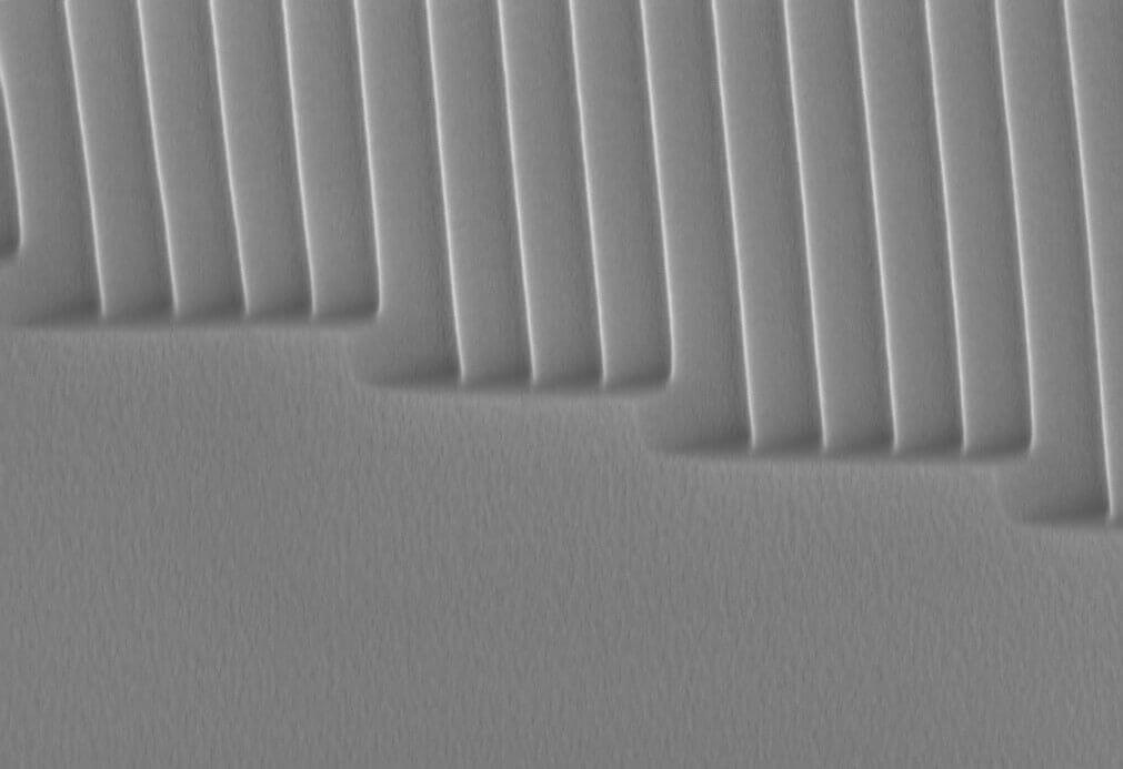 Tilted view of a replication from a NILT blazed grating master